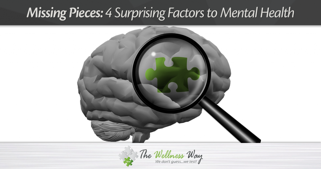 Image of Brain with magnifying glass looking at puzzle piece. Missing Pieces: $ Surprising Factors to Mental Health