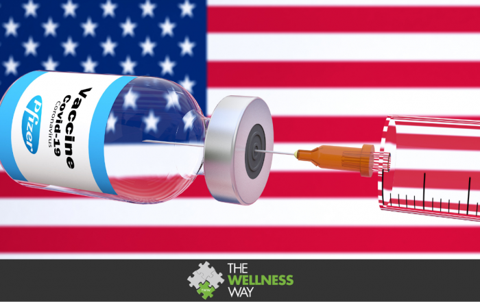 Pfizer and BioNTech american vaccine with a syringe and a container bottle in the treatment of coronavirus disease 2019 COVID-19 covid19 covid with United States of America USA flag as background