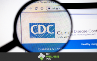 image of the CDC website with a magnifying glass over the CDC logo
