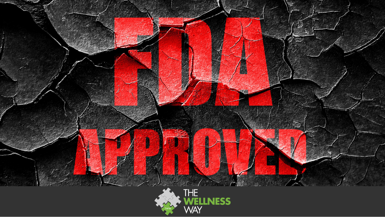 Red letters FDA APPROVED on a black crumbling background