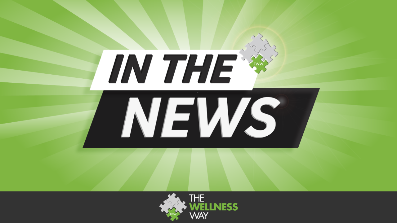"""green and light green striped background with the words """"In the News"""" in the foreground. The Wellness Way logo is placed at the upper right corner of text."""