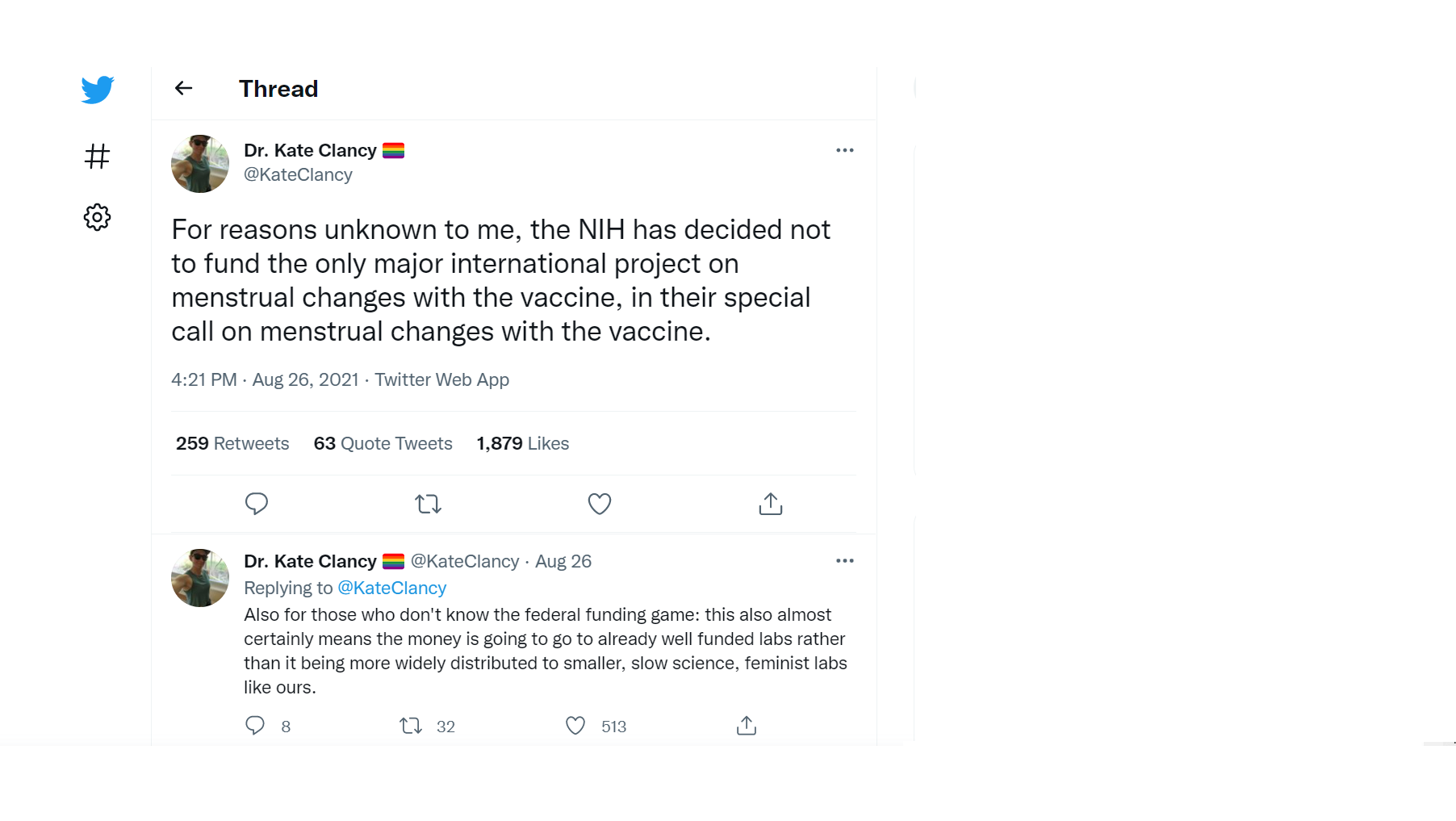 A Tweet indicating a researchers frustration with not getting funding for a study